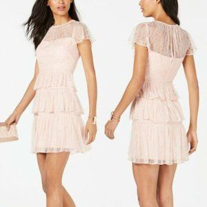 Adrianna Papell Tiered Chantilly Lace Mini Dress 6